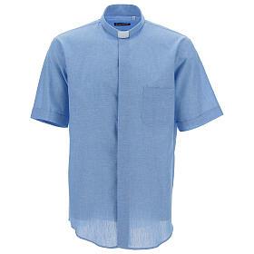 Camisa para sacerdote azul-celeste em linho de manga curta s1