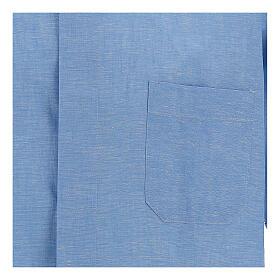 Camisa para sacerdote azul-celeste em linho de manga curta s2
