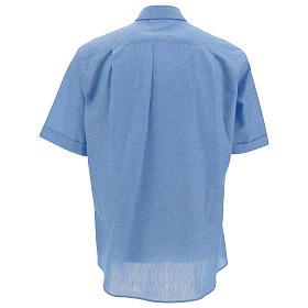 Camisa para sacerdote azul-celeste em linho de manga curta s4