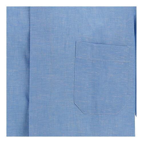Camisa para sacerdote azul-celeste em linho de manga curta 2