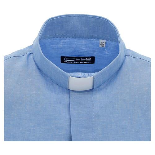 Camisa para sacerdote azul-celeste em linho de manga curta 3