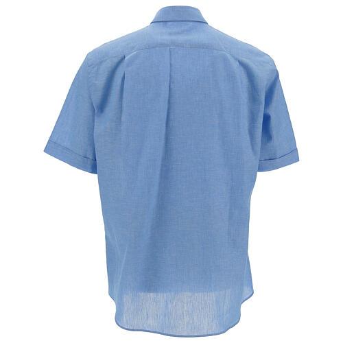 Camisa para sacerdote azul-celeste em linho de manga curta 4
