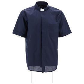 Camisa clergyman manga corta mixto algodón azul s1