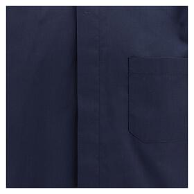 Camisa clergyman manga corta mixto algodón azul s2