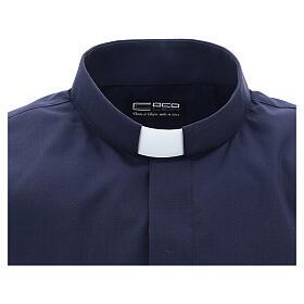 Camisa clergyman manga corta mixto algodón azul s3