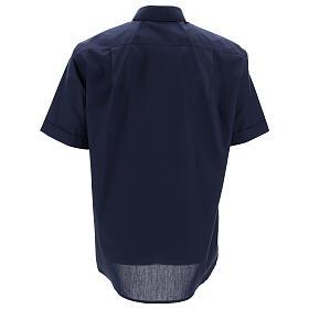 Camisa clergyman manga corta mixto algodón azul s4