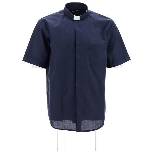 Camisa clergyman manga corta mixto algodón azul 1