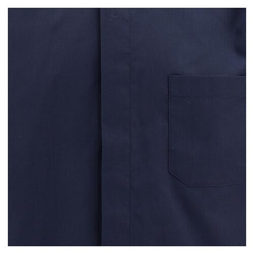 Camisa clergyman manga corta mixto algodón azul 2