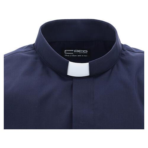 Camisa clergyman manga corta mixto algodón azul 3