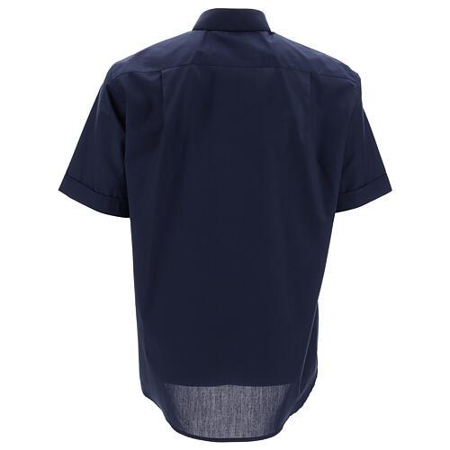 Camisa clergyman manga corta mixto algodón azul 4