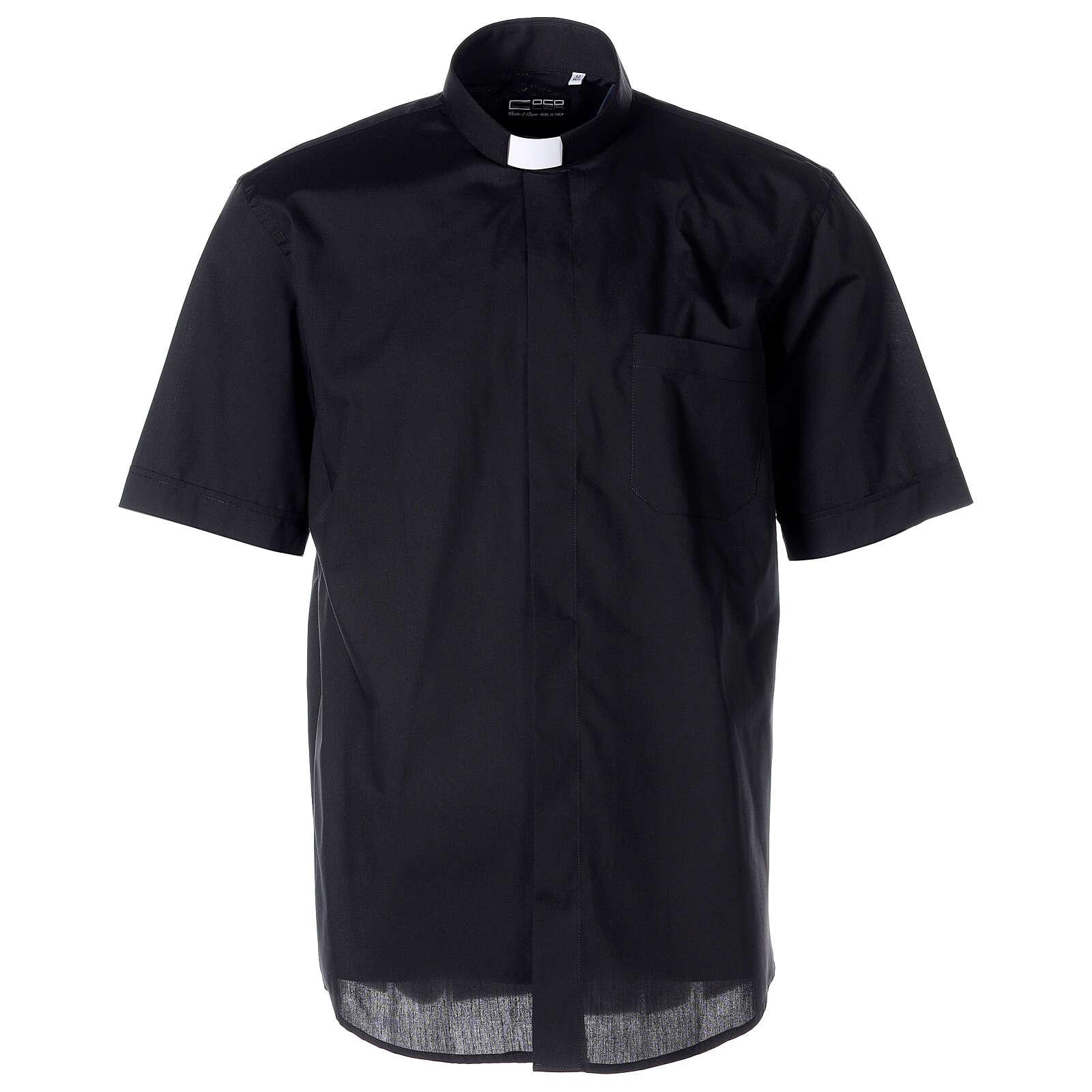 Chemise clergyman noire manches courtes tissu mixte coton 4