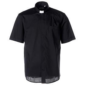 Chemise clergyman noire manches courtes tissu mixte coton s1