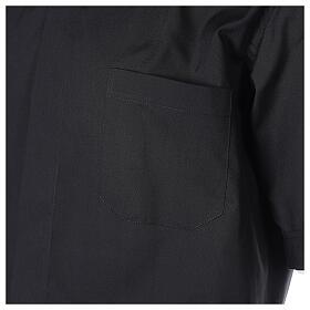 Chemise clergyman noire manches courtes tissu mixte coton s2