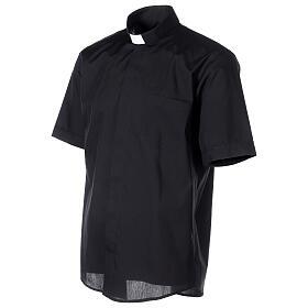 Chemise clergyman noire manches courtes tissu mixte coton s3