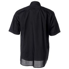 Chemise clergyman noire manches courtes tissu mixte coton s4