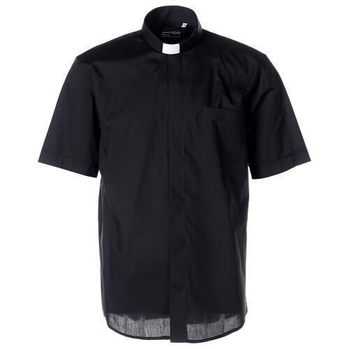 Chemise clergyman noire manches courtes tissu mixte coton 1