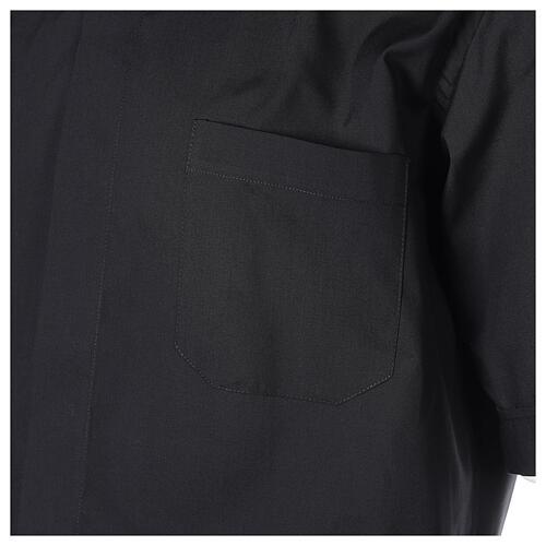 Chemise clergyman noire manches courtes tissu mixte coton 2