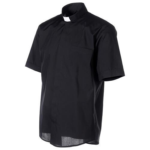 Chemise clergyman noire manches courtes tissu mixte coton 3