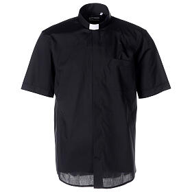 Camicia clergy nera manica corta misto cotone s1