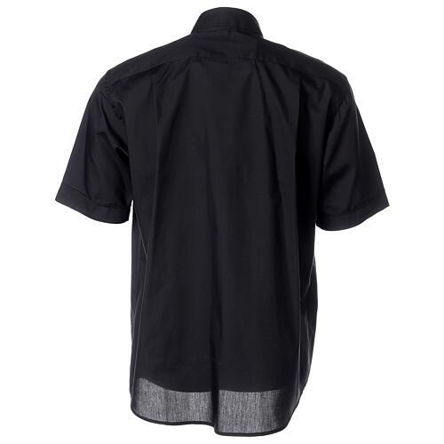 Camicia clergy nera manica corta misto cotone 4