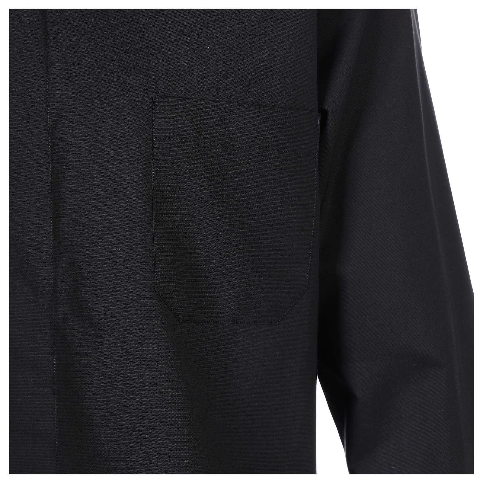 Camisa cuello clergy negro Manga Larga 4