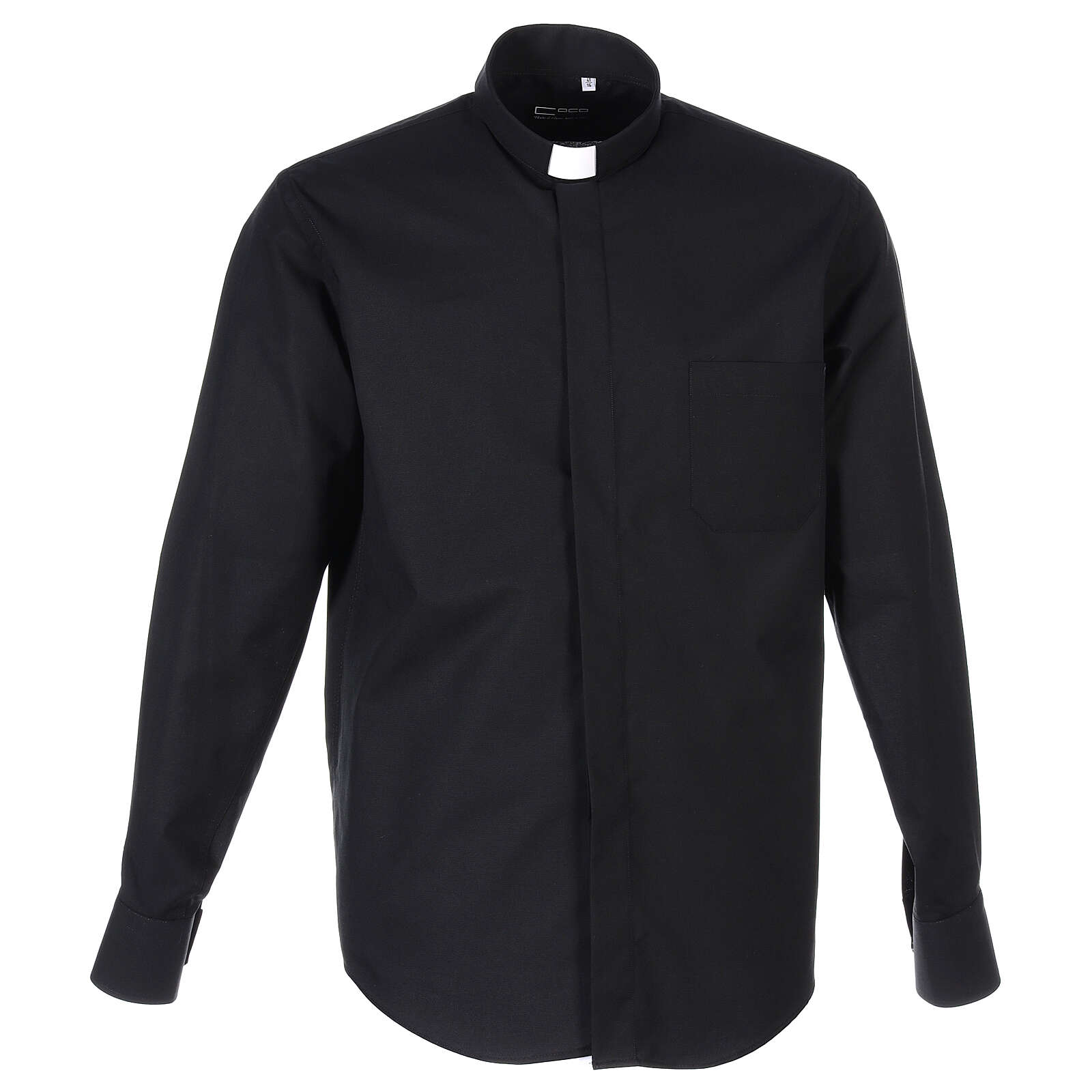 Camicia collo clergy fil a fil nero Manica Lunga 4