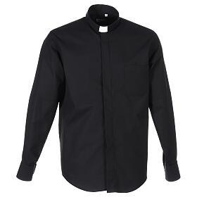 Camicia collo clergy fil a fil nero Manica Lunga s1