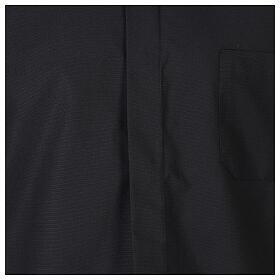 Camicia collo clergy fil a fil nero Manica Lunga s2