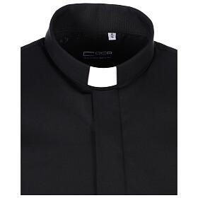 Camicia collo clergy fil a fil nero Manica Lunga s6