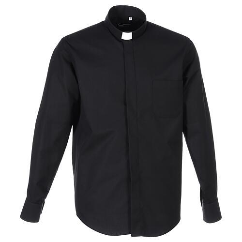 Camicia collo clergy fil a fil nero Manica Lunga 1