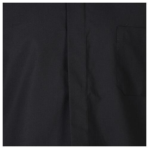 Camicia collo clergy fil a fil nero Manica Lunga 2