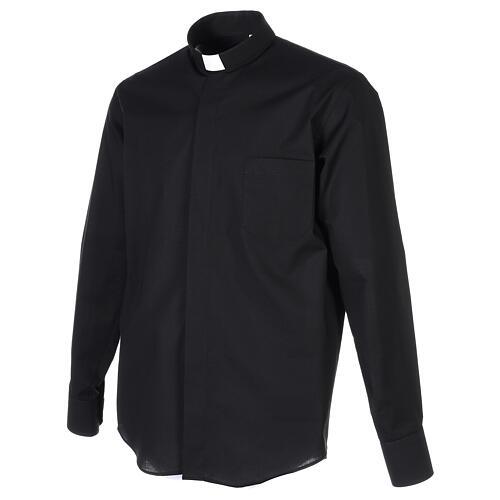 Camicia collo clergy fil a fil nero Manica Lunga 3