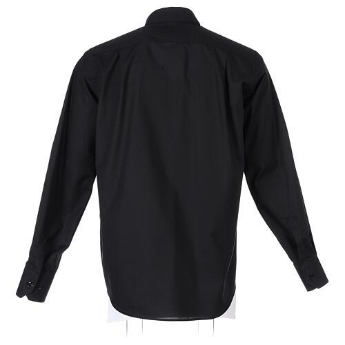 Camicia collo clergy fil a fil nero Manica Lunga 7