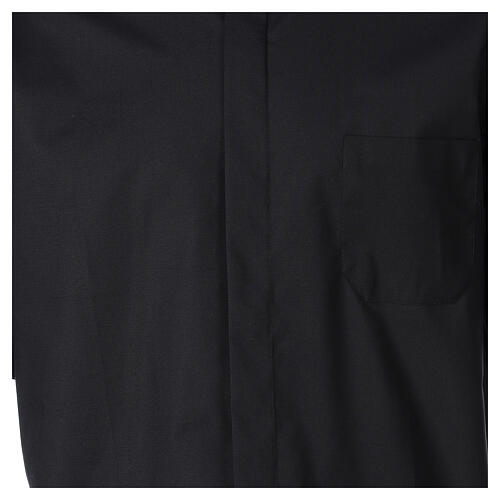Camisa clergy Negro Media Manga 2
