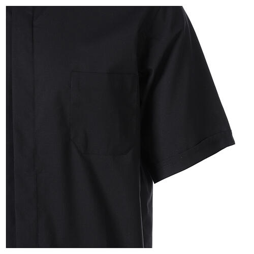 Camisa clergy Negro Media Manga 4