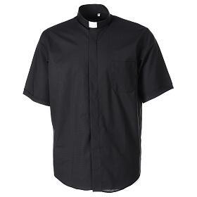 Chemise clergy fil à fil noir demi-manches s1