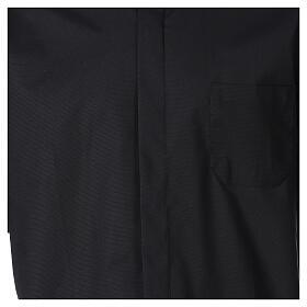 Chemise clergy fil à fil noir demi-manches s2