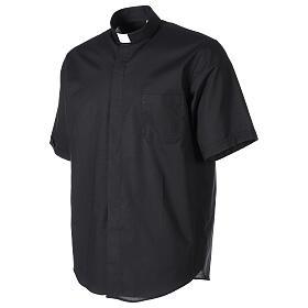 Chemise clergy fil à fil noir demi-manches s3