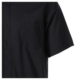 Chemise clergy fil à fil noir demi-manches s4
