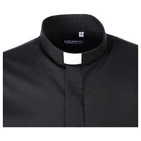Chemise clergy fil à fil noir demi-manches s5