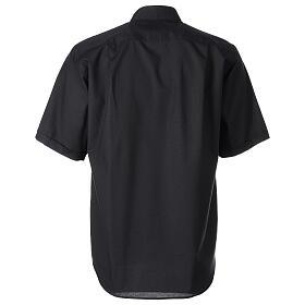 Chemise clergy fil à fil noir demi-manches s6