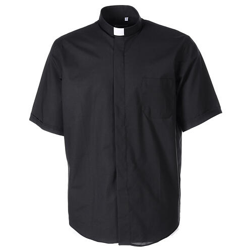 Chemise clergy fil à fil noir demi-manches 1
