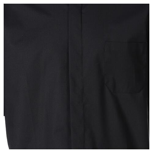 Chemise clergy fil à fil noir demi-manches 2