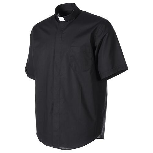 Chemise clergy fil à fil noir demi-manches 3