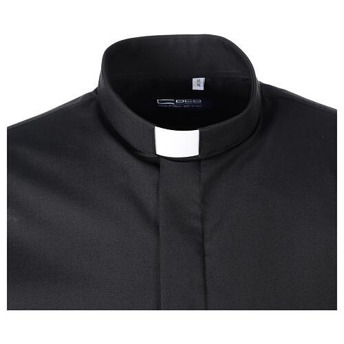 Chemise clergy fil à fil noir demi-manches 5