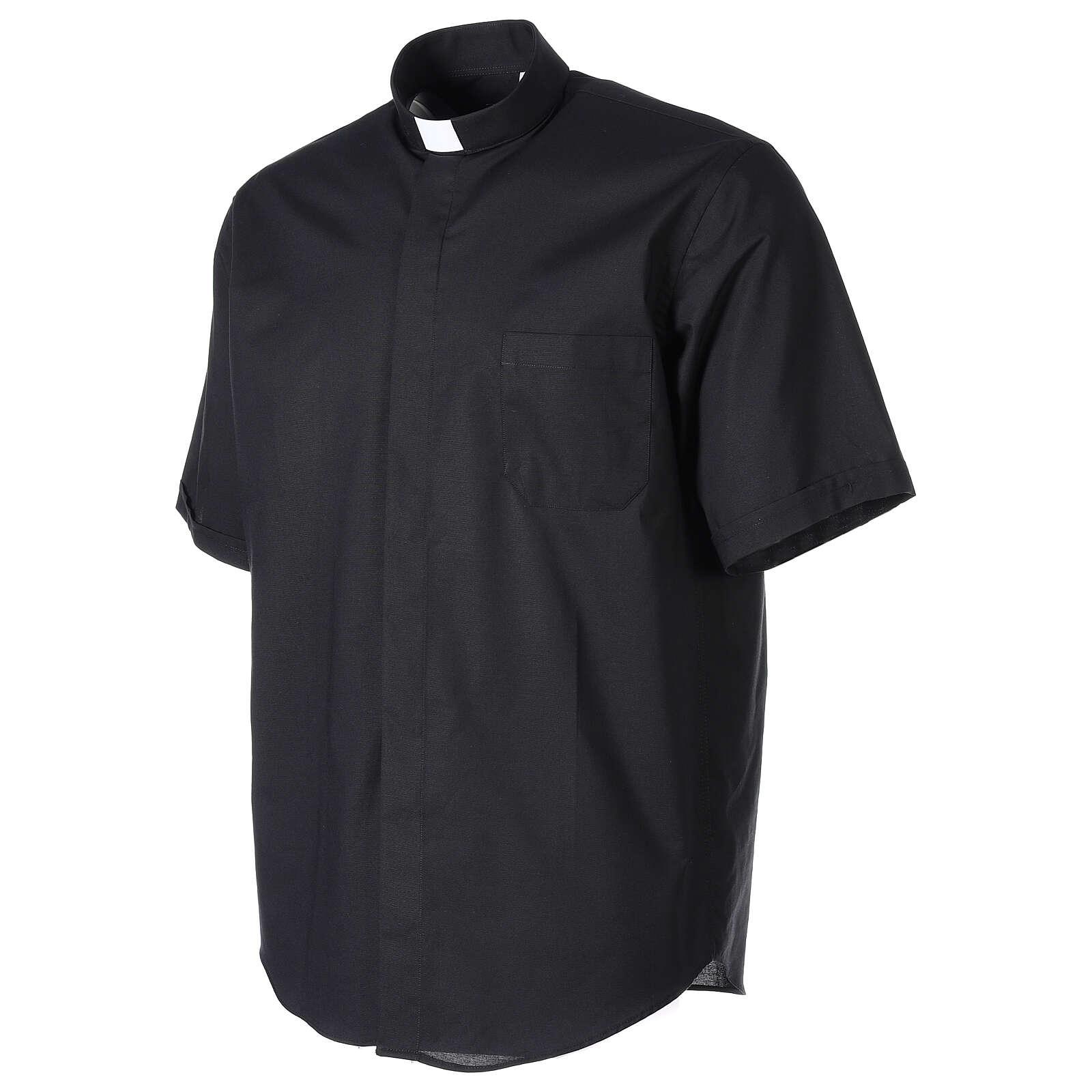 Camicia clergy fil a fil Nero Mezza Manica  4