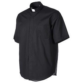 Camicia clergy fil a fil Nero Mezza Manica  s3