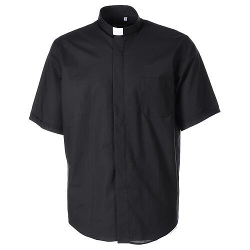 Camicia clergy fil a fil Nero Mezza Manica  1