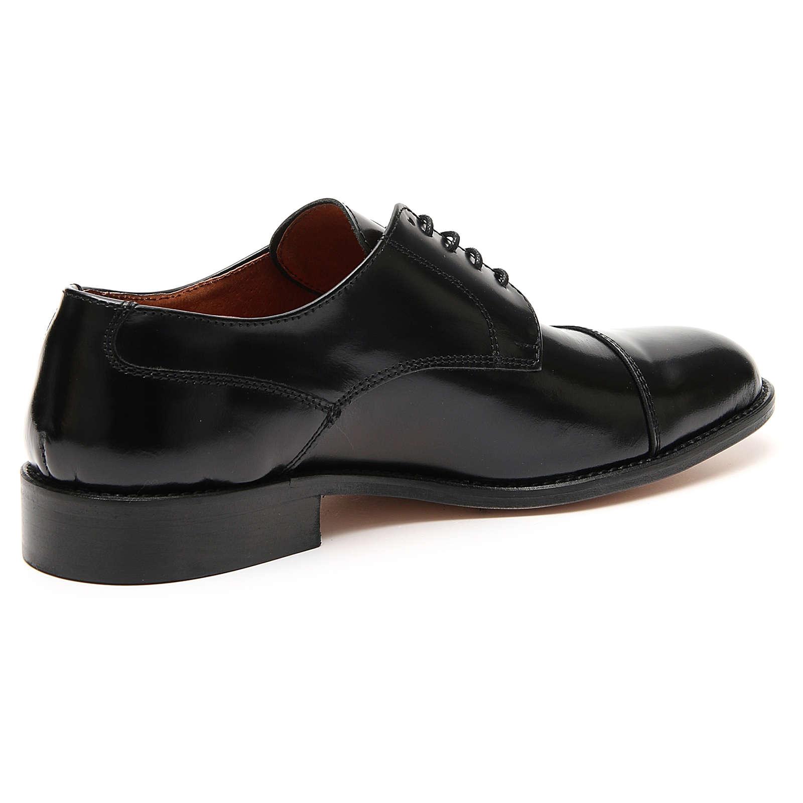 Scarpe vera pelle abrasivato nero taglio in punta 4