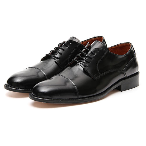 Shoes in polished real leather, toe cut 5